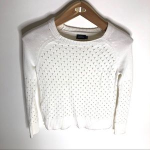 Kate Spade Saturday XS White Open Knit Sweater